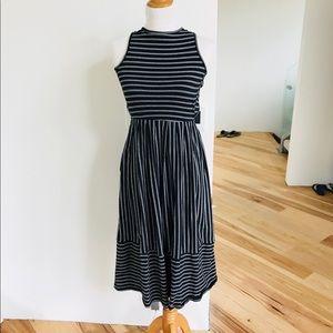 Strip midi casual dress